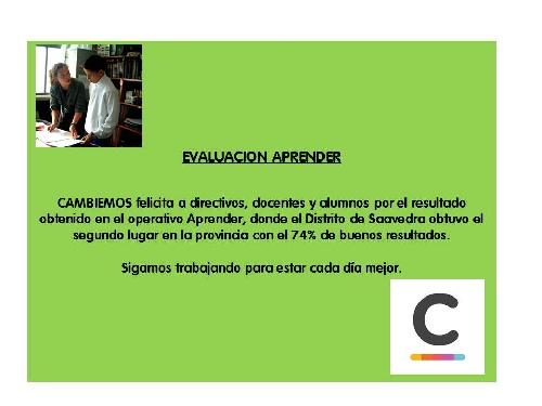 Cambiemos destaca los resultados de Aprender en el Distrito de Saavedra Pigüé