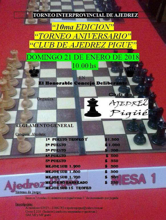 Torneo 10º Aniversario del Club de Ajedrez Pigüé