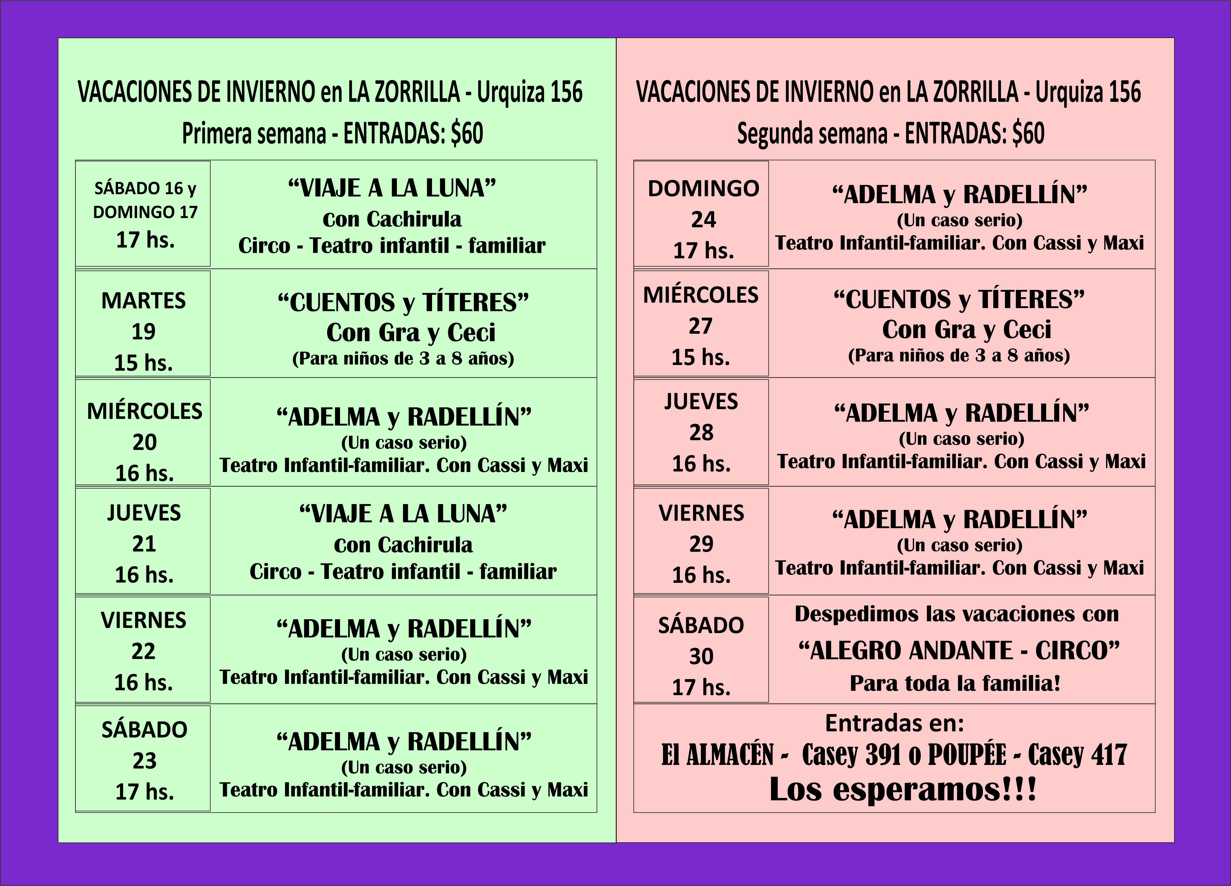 La Zorrilla: espectáculos para niños y familia en vacaciones de invierno en Pigüé