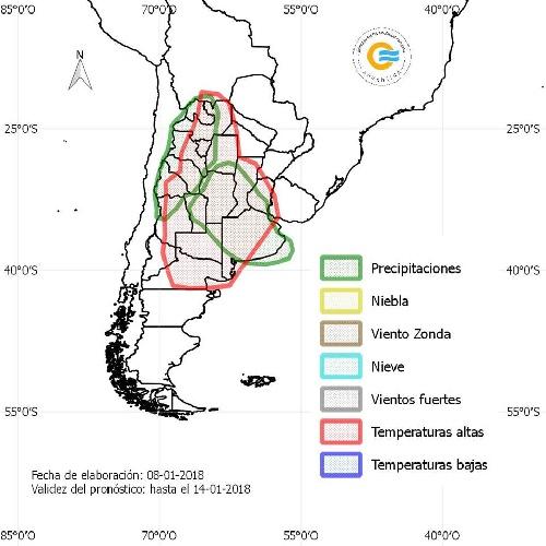 Servicio Meteorológico Nacional ( SMN):  Pronostico extendido del  08 al 14 de enero