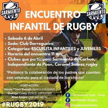 Rugby Infantil - Pequeños del Club Sarmiento viajan a Darregueira.