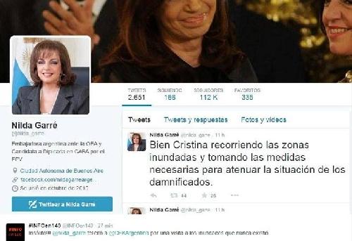 Nilda Garré felicitó a Cristina por algo que nunca ocurrió La actual embajadora ante la OEA habló de la presidenta visitando las zonas inundadas