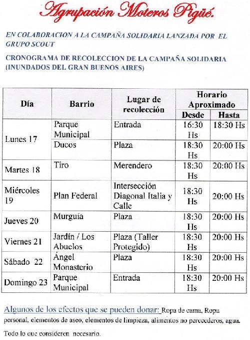 Campaña solidaria parroquial - Cronograma de recolección barrial de donaciones