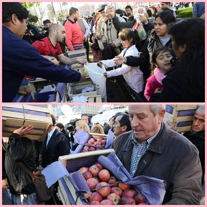 El productor recibe $ 2,80 ctvos /kilo de pera y$ 3 /kilo de manzanas y grandes supermercados se vende a 40 o 50 pesos el kilo
