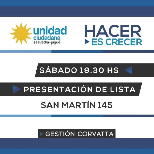 Unidad Ciudadana liderada localmente por Corvatta convoca a la presentacion de sus pre candidatos para las PASO