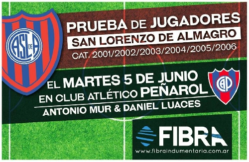 San Lorenzo prueba jugadores en instalaciones del Club Peñarol de nuestra ciudad.