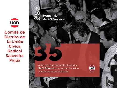 La Union Civica Radical recuerda el regreso a la Democracia