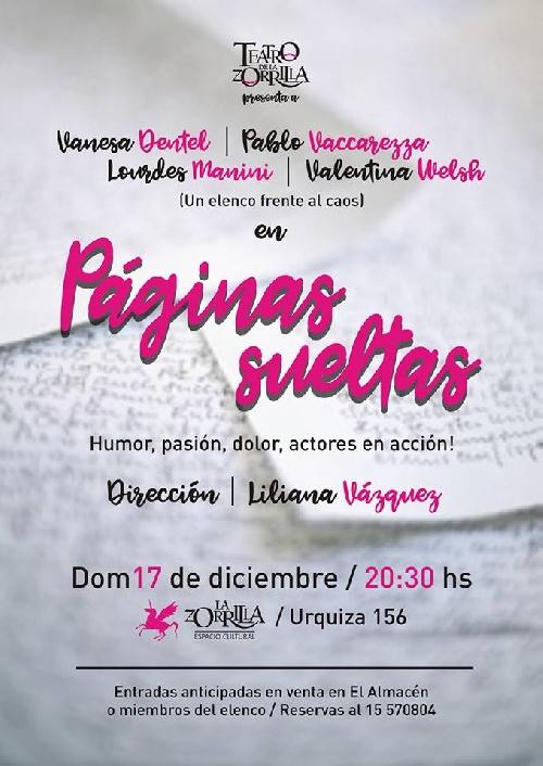 """Teatro de la Zorrilla pondrá en escena """"Páginas sueltas """""""
