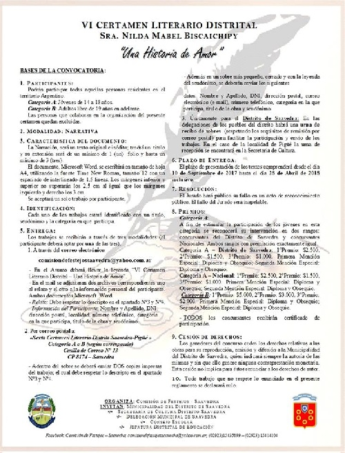 """PRESENTARON EL VI CERTAMEN LITERARIO DISTRITAL """"SRA. NILDA MABEL  BISCAICHIPY""""."""