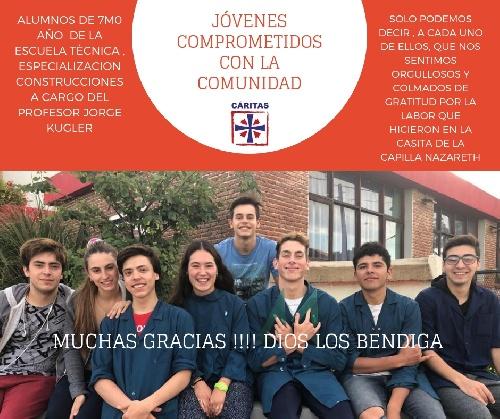 Agradecimiento de Cáritas para con alumnos de la Escuela Técnica de Pigüé