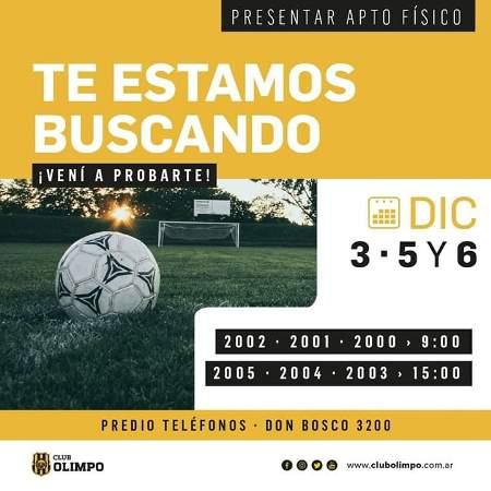 Olimpo de Bahía Blanca probará jugadores.