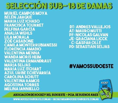 Hockey Femenino - Plantel definido del Sub 18 de la Asociación.