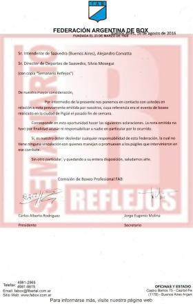 Boxeo - La Federación Argentina de Box cuestionó la pelea del pasado viernes en nuestra ciudad.
