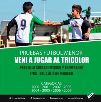 Villa Mitre probará jugadores menores e infantiles durante la próxima semana.