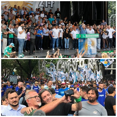 Quienes subieron al palco con Hugo Moyano - La Campora liderada por Maximo K en la marcha