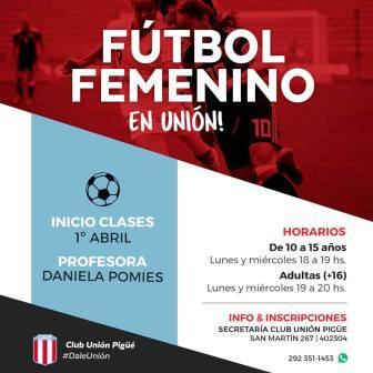 Unión Pigüé incorpora el fútbol femenino a sus actividades.