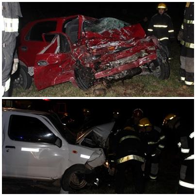 Violento choque frontal en RN 33, Km 44 (cerca acceso Tres PIcos) entre un auto y una camioneta