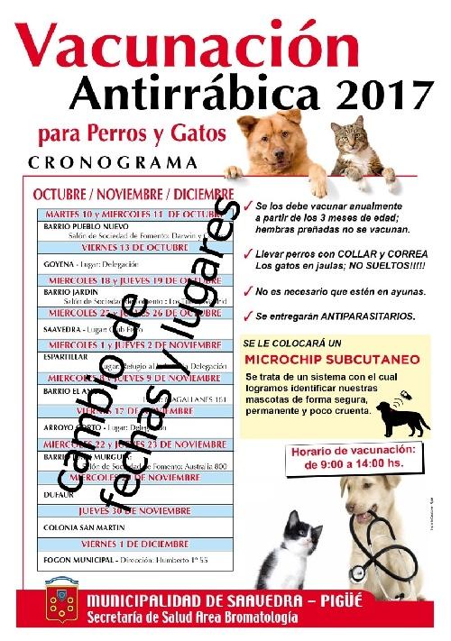 Cambio de fechas de la vacunación obligatoria de mascotas