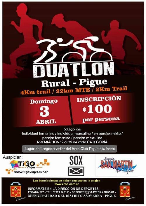 SE SUSPENDIO EL DUATLON RURAL- PIGÜÉ
