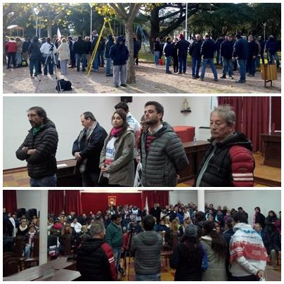 La intersindical, Cooperativa Textiles Pigüé y la CTA movilizados en Plaza Sarmiento y el HCD