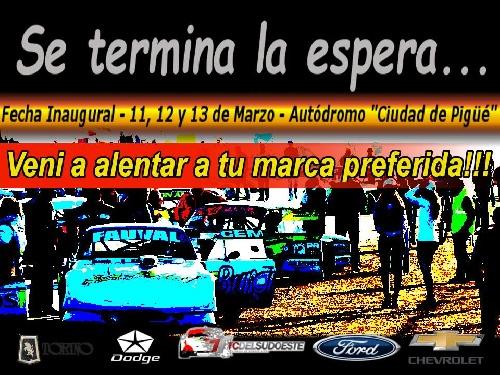 Automovilismo Zonal - Se viene el inicio de Temporada en el Ciudad de Pigüé.