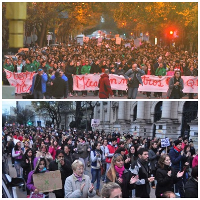 Unos 2.000 bahienses marcharon en la plaza Rivadavia en reclamo de justicia por Micaela