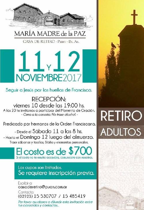 Retiro espiritual en Casa María Madre de la Paz de Puan,10, 11 y 12  de Noviembre ´17