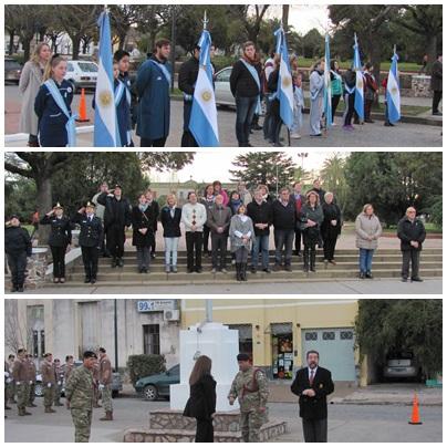 Pigüé;  Izamiento de la Bandera en el Mastil de la Ciudad
