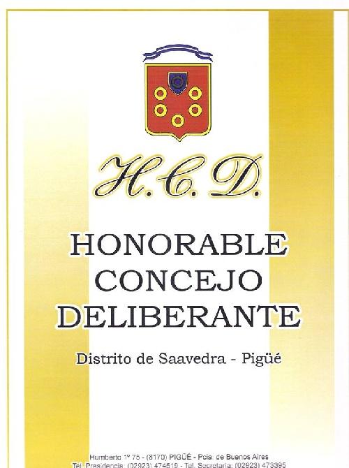 Concejo Deliberante del Distrito de Saavedra - Pigüé: Séptima Sesión Ordinaria del año
