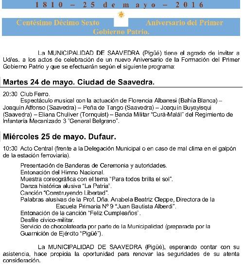 Programa de Actos Oficiales del 25 de mayo