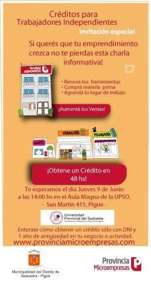 Información sobre créditos para  micro emprendimientos