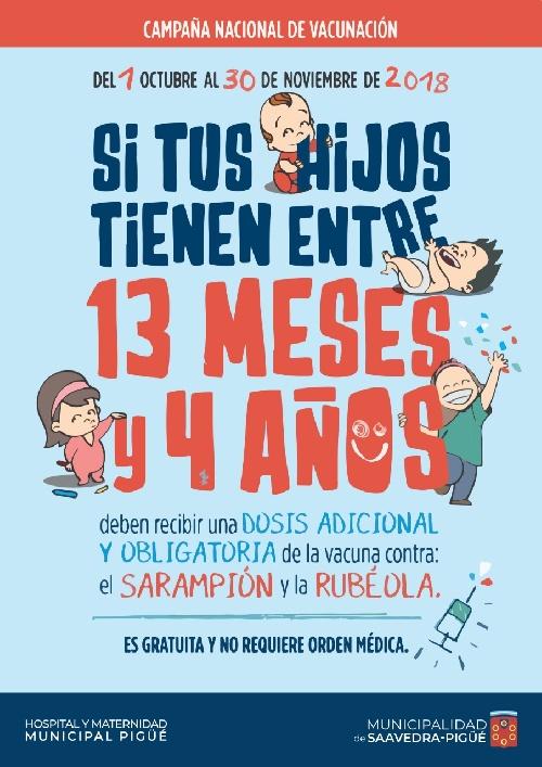 Vacunación  adicional obligatoria de niños entre 13 meses y 4 años