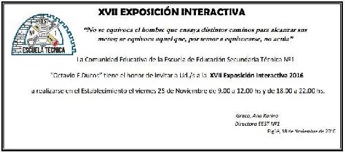 XVII Exposición Interactiva 2016 de la EES Tecnica Nº 1 Octavio Ducós