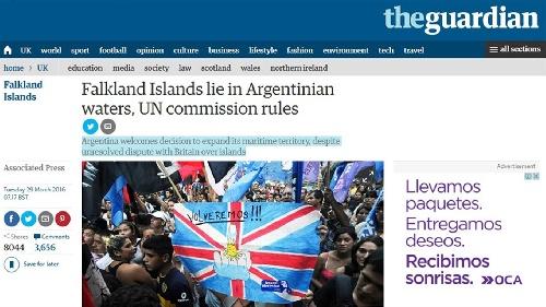 La prensa británica sobre el fallo de la ONU  - The Guardian: La Falkands (Malvinas) están en aguas argentinas según la ONU