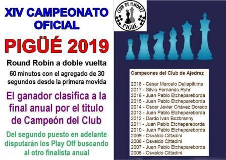 Ajedrez - Se sorteó el Torneo Oficial Pigüé 2019