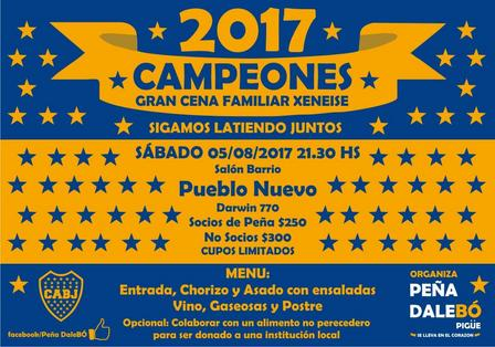 La peña boquense de Pigüé organiza la cena del Campeonato
