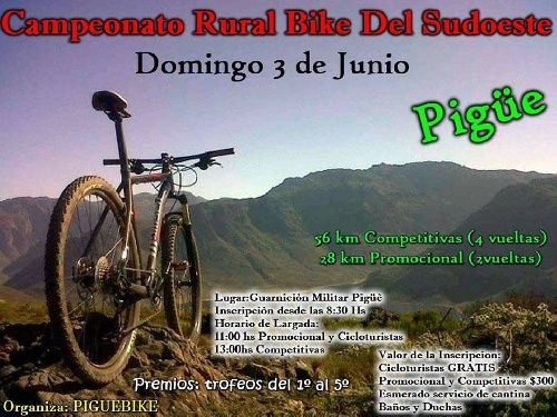 El Rural Bike se hace presente este fin de semana en Pigüé.