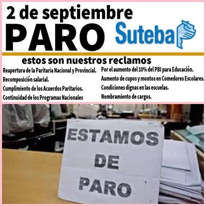 SUTEBA convoca a paro docente para éste viernes ( 02-09-16)
