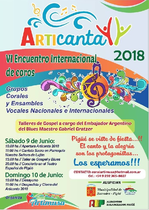 ARTICANTA 2018 : VI Encuentro nternacional de Coros en Pigüé