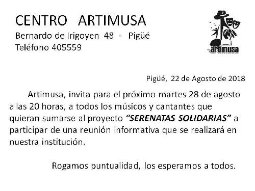 ARTIMUSA CONVOCA A REUNION DE MÚSICOS PARA QUE SE SUMEN A LAS SERENATAS SOLIDARIAS