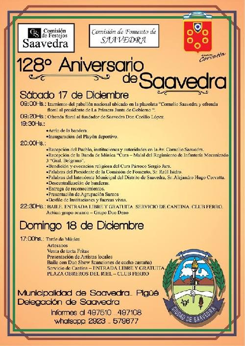 Centésimo vigésimo octavo aniversario de Saavedra