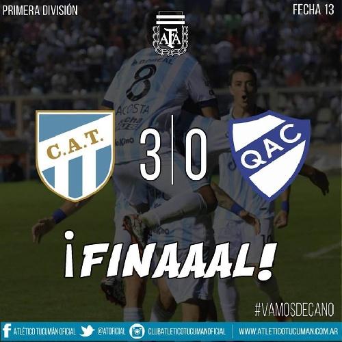 AFA - 1ra División - Atlético Tucumán derrotó a Quilmes y se coloca en mitad de tabla - Leo González titular.