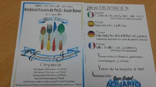 Tarjetas para la cena del  2do.Encuentro de Inmigrantes de Pigüé