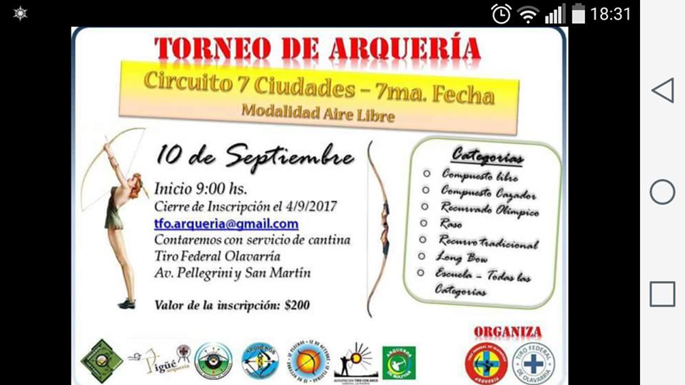 Representantes del Tiro Federal Pigué competirán en el Torneo de Arqueria de Olavarria