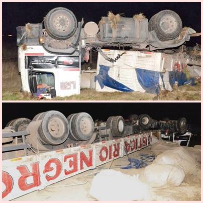 RN 33 Km 72  Banquina con tierra floja produjo vuelco de camión
