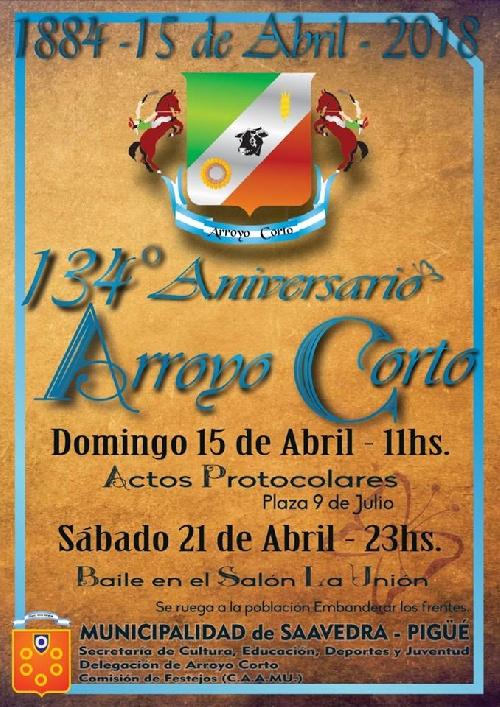 ACTOS DEL 134° ANIVERSARIO DE ARROYO CORTO