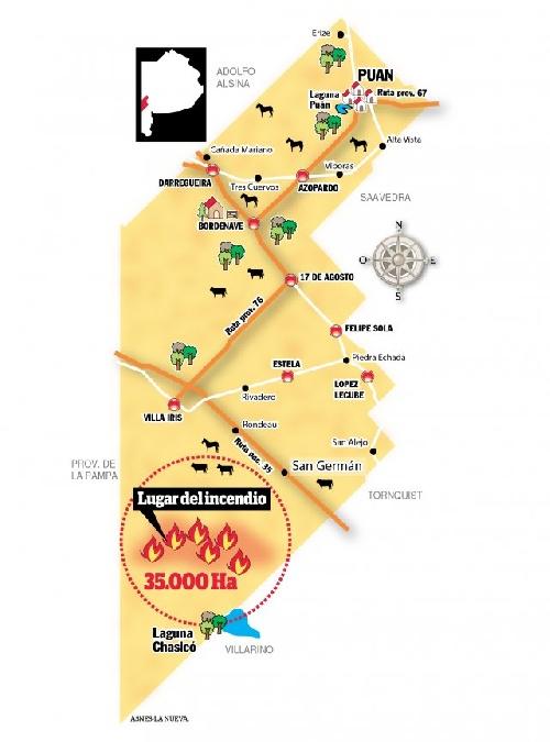 Se quemaron 35 mil hectáreas al sur de Puan