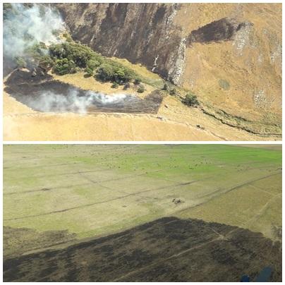 Abra de la Ventana: tras ardua labor lograron extingir el fuego en los cerros de Santo Tomas y ahora Bomberos están en guardia de cenizas,en alerta