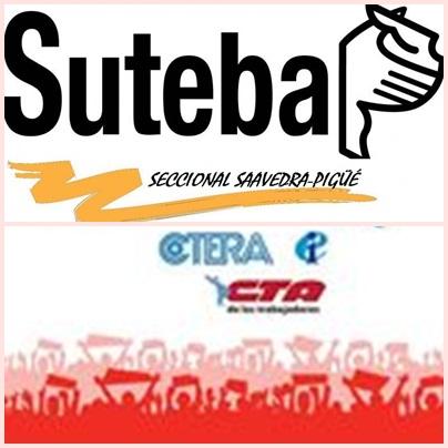 Suteba Saavedra Pigüé adhiere al paro por 24 hs. convocado para mañana martes 23 por la CTA