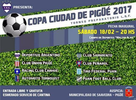 El sábado da comienzo el Torneo de Fútbol Ciudad de Pigüé, organizado por Deportivo Argentino. Programación
